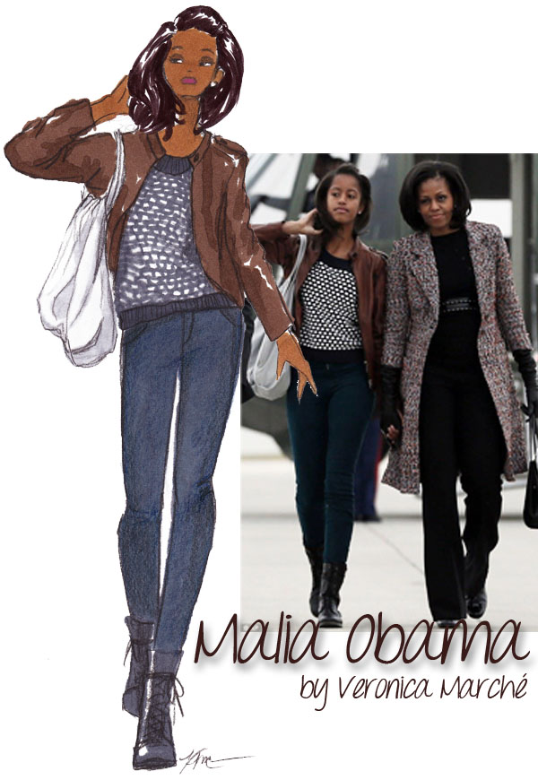 Malia Obama Illustrated by Veronica Marché