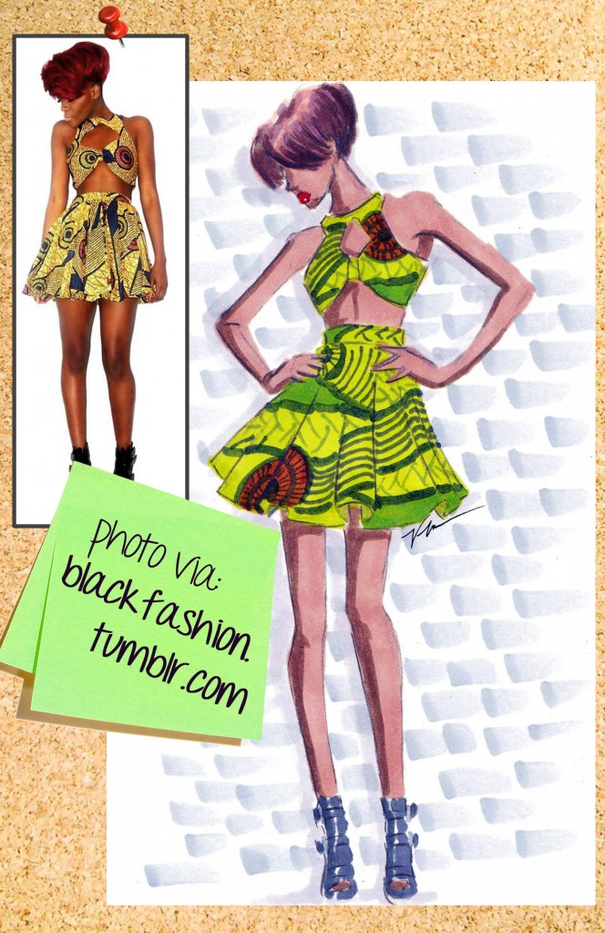Wax Print Fashion Illustration by Veronica Marché